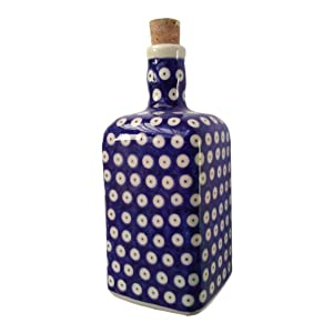 Classic Boleslawiec Pottery Hand Painted Ceramic Olive Oil or Vinegar Bottle 0.7 Litre 013-U-097 (T-001)