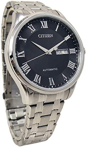 Citizen NH8360-80E Men s Stainless Steel Roman Black Dial Day Date Automatic Watch