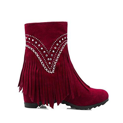 AllhqFashion Mujeres Puntera Redonda Plataforma Borla Botas Rojo