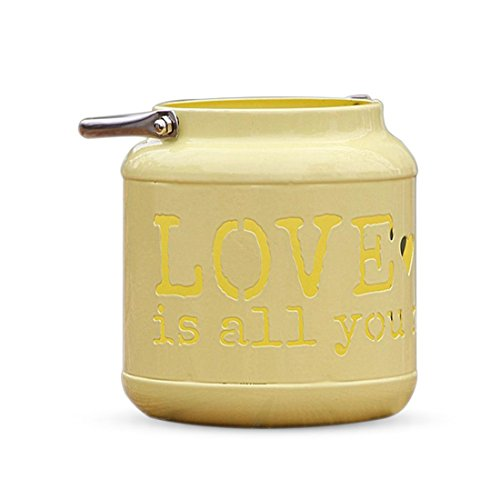 Toogoo Yellow European pastoral home decoration iron hollow hollow LOVE floor lamp candle holder flower pot storage barrel wedding ornaments by Toogoo