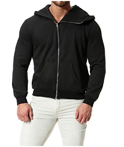 Black RkBaoye Jacket Mens Hoodies Color Pure Zipper Sleeve Hooded Long wzvaqwr
