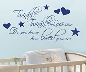 Twinkle Twinkle Little Star Vinyl Wall Sticker Wall Art (Forest Green, Large)