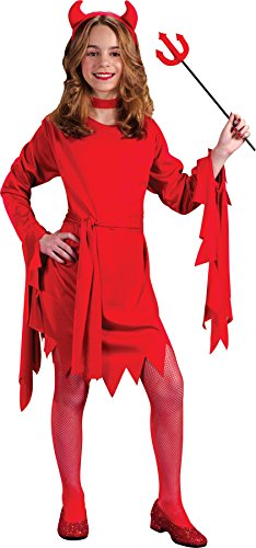 Child Devil Costume Boy (Girls Darling Devil Kids Child Fancy Dress Party Halloween Costume, M (8-10))