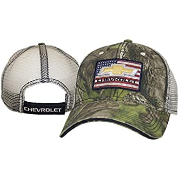 Bundle with Driving Style Decal Gregs Automotive Chevrolet Bowtie American Flag Retro Trucker Hat Cap Camouflage Camo