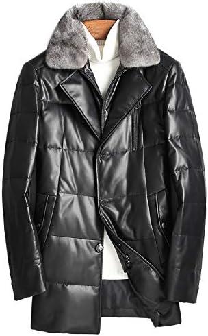 冬の高品質90%ホワイトダックダウンアライグマの襟のジャケットの男性、男性の暖かいトレンチコート