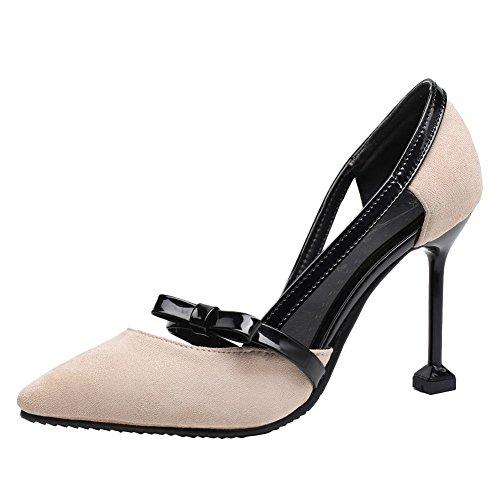 Bow High Sexy Spitzschuh Frauen Heel Pumps Carolbar Apricot Chic Stiletto cFqfOwT