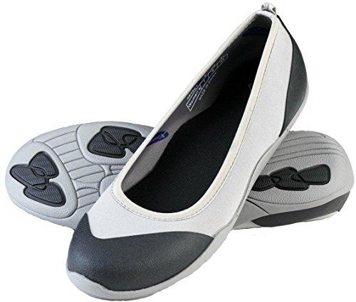 MuckBoots Womens Breezy Casual Rubber Ballet Flat Grey, Black