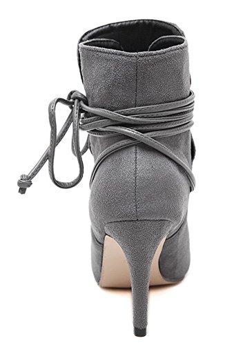 IDIFU Womens Sexy Cross Bandage Pointed Toe Stiletto High Heels Ankle Boots Gray wJeKI