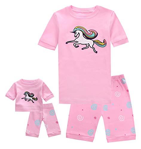 (Shorts Little Kids Pajamas Matching Doll & Girls Pajamas 100% Cotton Unicorn Pjs Set Size 7 Fits American Girl )