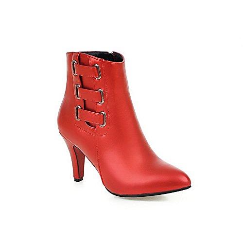 VogueZone009 Damen Niedrig-Spitze Blend-Materialien Hoher Absatz Rund Zehe Stiefel, Rot, 33