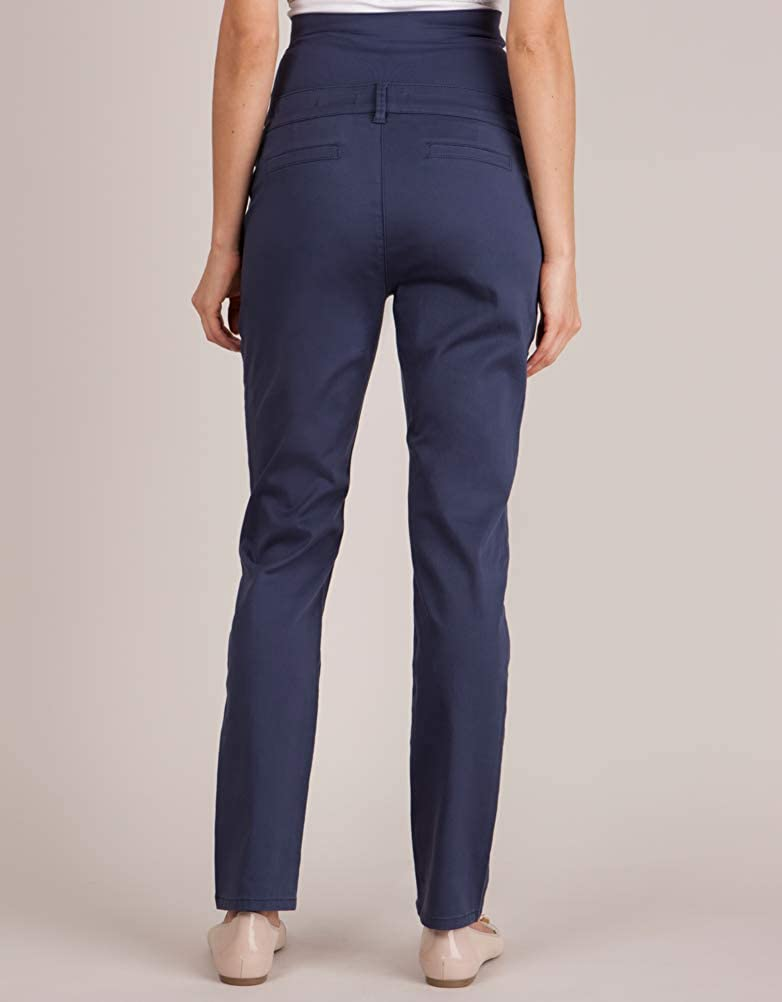 Seraphine Womens Navy Blue Over Bump Maternity Chinos