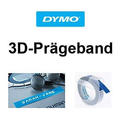 Farbband 9 mm Weiss auf Schwarz 3mtr. Schriftband-Kassette 3D Pr/ägeband f/ür DYMO 1540