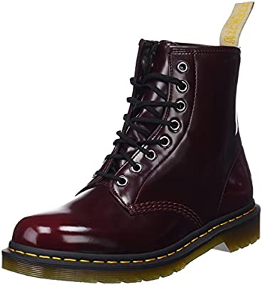 Dr.Martens Vegan 1460 8-Eyelet Cherry Red Womens Cambridge Brush 8-Eyelet Boots