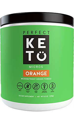 Perfect Keto Greens Superfood Powder: Super Micro Green Drink & MCT Oil, Best as Low Carb Ketogenic Diet Supplement for Ketosis, Amazing for Ketones and Athletic Diets, Orange