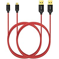 2 Pack AK-B7116091 Anker 6ft / 1.8m Nylon Braided Tangle-Free Micro USB Cable with Gold-Plated Connectors (Red)