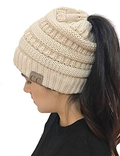 Pinsparkle Winter Hats for Women with Ponytail Hole Warm Stretch Cable Knit Beanie