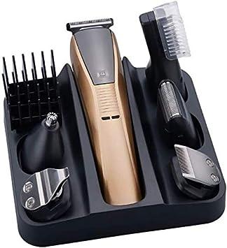 Mopoq 6en1 kit de aseo condensador de ajuste eléctrico del pelo de las podadoras de pelo for los hombres Barba coche Trimer de afeitar de la máquina de la ceja del ajuste Cara Cuerpo Groomer