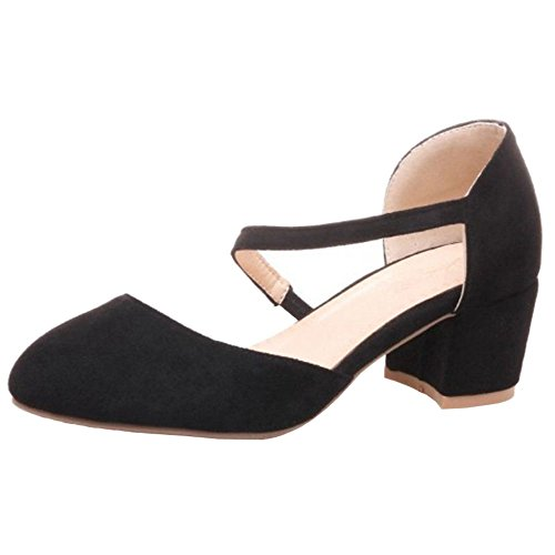 SJJH Casaul Sandals with Fuax Suede Materail and Large Black 74CxF
