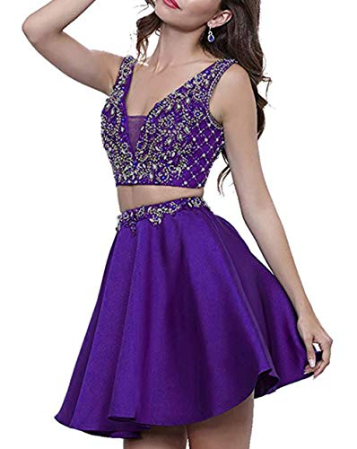 HerDress Women's Two Piece Beaded Homecoming Dresses 2018 Short Satin A-Line V-Neck Prom Dresses Cocktail Ball Gowns Purple