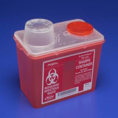 (MCK60382840 - Multi-purpose Sharps Container Monoject 1-Piece 7.08H X 6.75W X 10.56D Inch Red Base Chimney Top)