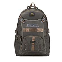 Innturt Nylon Backpack Bag Outdoor Rucksack Multiple Pockets 35L Color Army Green