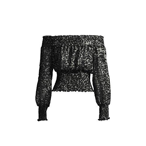Keliay Bargain Women Long Sleeve Leopard Off-Shoulder Sexy Slim Chiffon Fit T-Shirt Blouse Top
