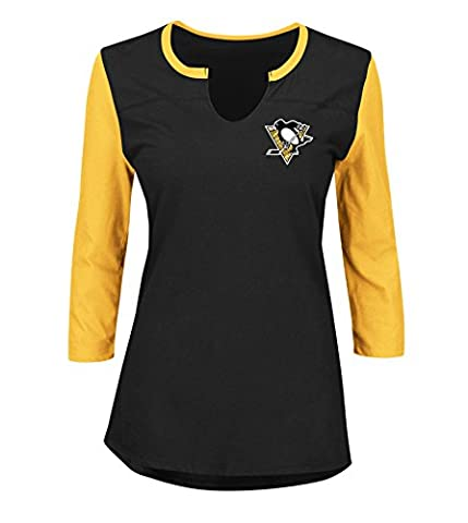 NHL Pittsburgh Penguins Glowing Passion 3/4 Sleeve Notch Neck Tee, Large, Black Yellow Gold Black