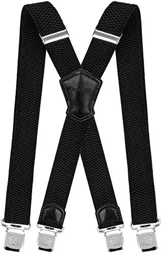 Decalen Mens Suspenders Very Strong Clips Heavy Duty Braces Big and Tall X Style (Black)