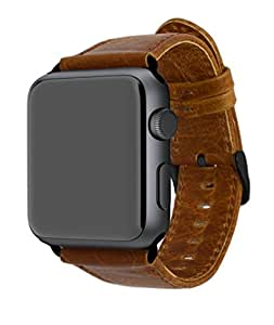 LANE CO Luxury Genuine Leather Apple Watch Band for iWatch 42mm All Versions - Brown with Black Connectors