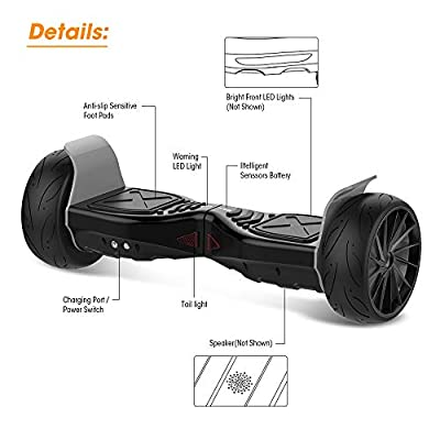 City Cruiser Hoverboard All Terrain Off Road Electric Self Balancing Scooter with Bluetooth Speaker, UL Certified, Front LED Light, Charger Having Fun with You: Sports & Outdoors