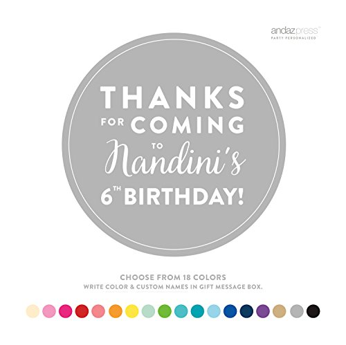 Andaz Press Personalized Circle Labels, Birthday, Thanks for Coming Block Style, 40-Pack, Custom Made Any Name, Age, For 1st Kids Birthday, Over the Hill Milestone Birthday Decorations by Andaz Press