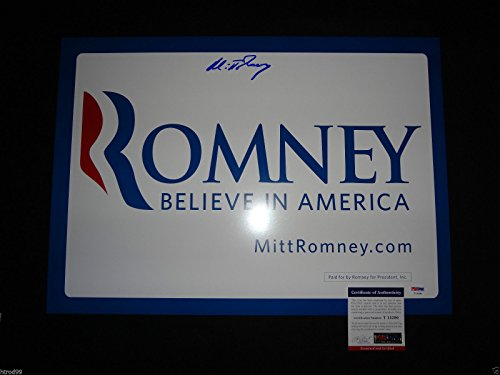 (MITT ROMNEY SIGNED 2012 PRESIDENT CAMPAIGN SIGN NOMINEE PSA/DNA PROOF K90)
