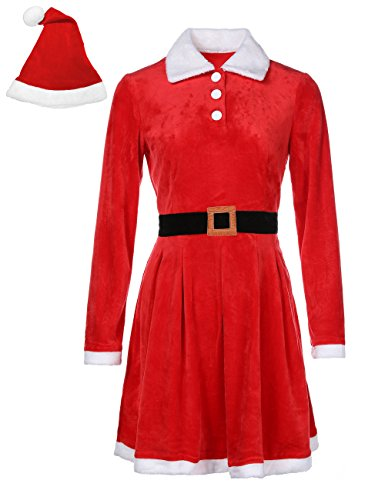 Felove Womens Christmas Santa Claus Velvet Dress Holiday Party Costume