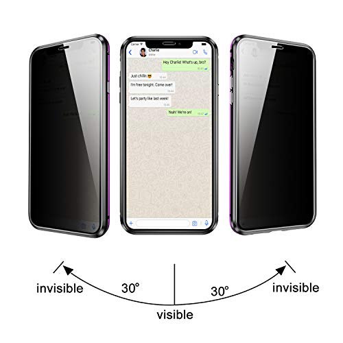 YUNQE Compatible with iPhone 11 Case,Screen Protector Free Anti Peeking Luxury Double Sided Protective Cover Metal Frame Hard Magnetic Phone Case with Camera Cover Fullbody Protection,Purple