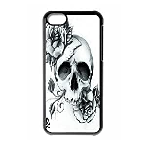 Artistic Skull Shell Phone for iphone5c Black Cover Phone Case [Pattern-3]