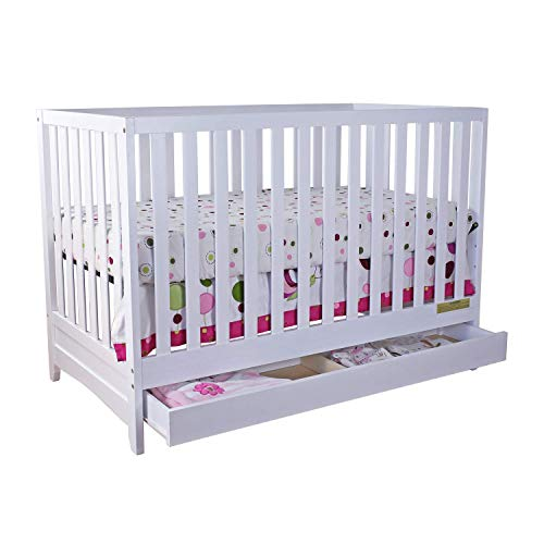AFG Baby Furniture Athena Mila 3-in-1 Convertible Crib with Toddler Guardrail, White