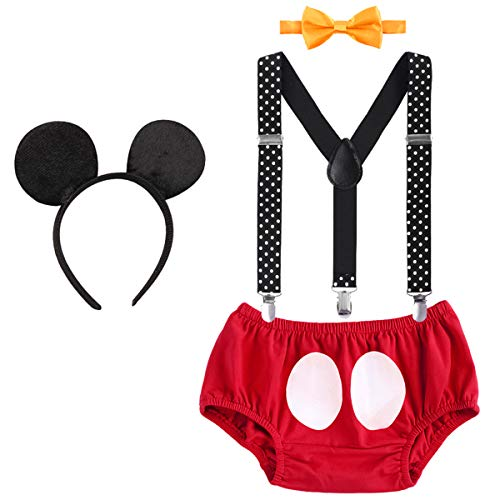 Cake Smash 1st Birthday Party Mickey Boy Outfits Suspender Bottoms Bowtie Mouse Ear Headband 4pcs Set Briefs & Red 12-18 Months