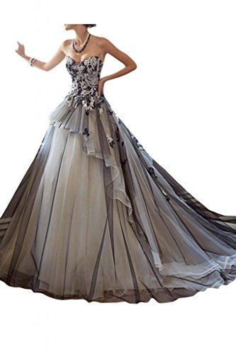 MILANO-BRIDE-Stunning-Ball-Gown-Strapless-Organza-Applique-Wedding-Dress-In-Color-12-Black-and-Champagne