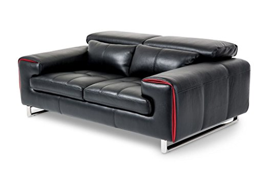 Michael Amini Magrena Leather Loveseat, Black/Red/Stainless Steel
