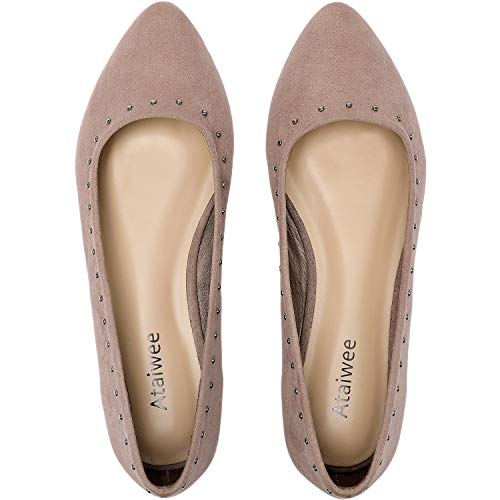 Ataiwee Women's Wide Flat Shoes - Slip On Suede Casual Pointy Toe Comfortable Openwork Pattern Ballet Flats.