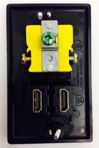 CERTICABLE BLACK SINGLE GANG CUSTOM DESIGNED WALL PLATE - HUBBELL AC 15A 110V POWER OUTLET + 2x HDMI 1.4