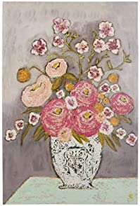 Creative Co-op Flowers in Vase Wrapped Canvas Wall Art, Pink