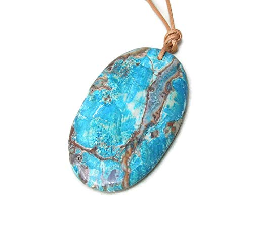 - Ocean Jasper Faceted Pendant - Ocean Jasper Druzy Faceted Pendant - Blue, Mint Green, Rose Color Matrix- Gold Plated Edge and Bail 55mm - 60mm
