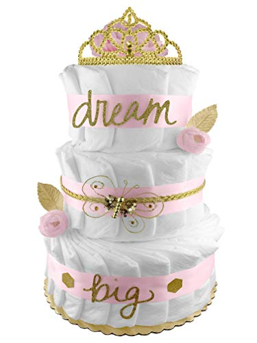 Dream Big 3-Tier Diaper Cake - Girl Baby Shower Gift - Pink and Gold ()