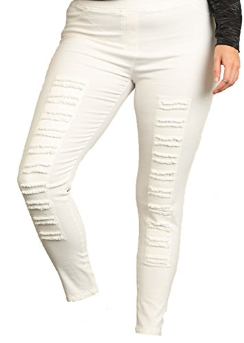 Women's Plus Size High Waisted Distressed Jegging (XL, Cream)
