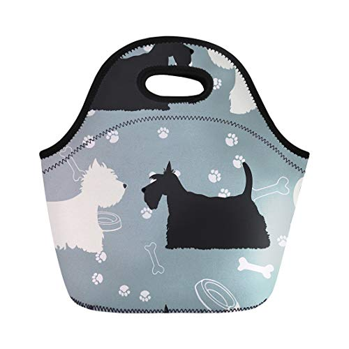 Semtomn Lunch Tote Bag Terrier Dogs Silhouettes Scottie and Westie Pattern Animal Black Reusable Neoprene Insulated Thermal Outdoor Picnic Lunchbox for Men Women (Terrier Scottish Art Dog)