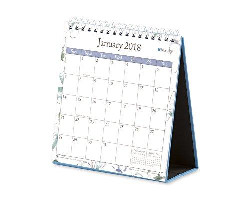 "Blue Sky 2018 Monthly Desk Calendar With Stand, Twin-Wire Binding, 6"" x 6.3"", Lindley"