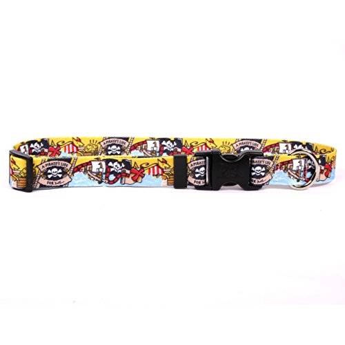 Yellow Dog Design Pirate Booty Dog Collar, X-Small-3/8 Wide and fits Neck Sizes 8 to 12