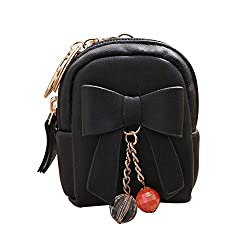 Women S Bow Pendant Zip Coin Purse Wallet Casual Zipper Mini Leather Wallet Moneybag Fashion Handbag Purse Wallet Black