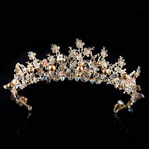 Yfe Wedding Crown Gold Pearls Crystal Crowns and Tiaras for Women Fairy Tail Crown